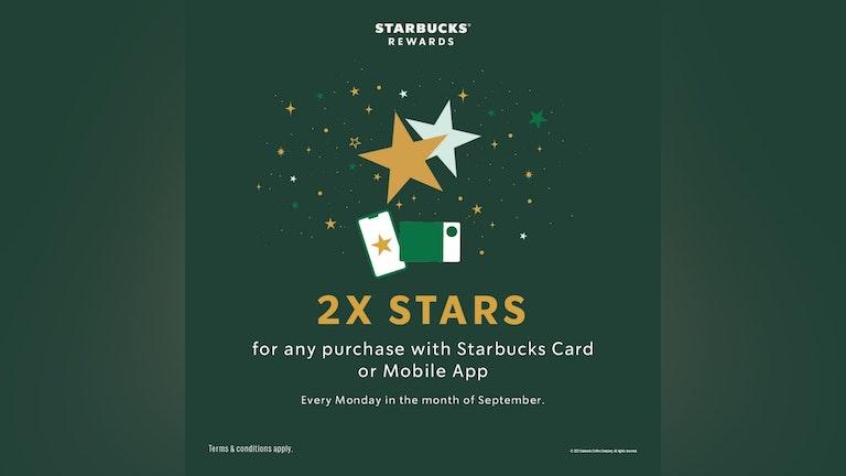 Starbucks Rewards 2x Bonus Stars on All September Mondays