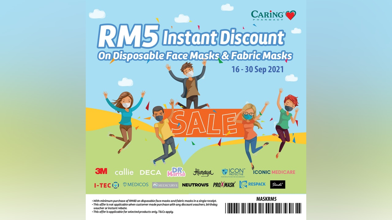 RM5 Instant Discount on Disposable Face Masks & Fabric Masks at CARiNG Pharmacy