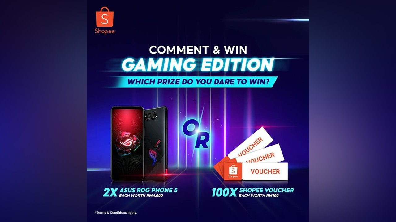 WIN A BRAND NEW ASUS ROG PHONE 5 OR RM100 SHOPEE VOUCHER