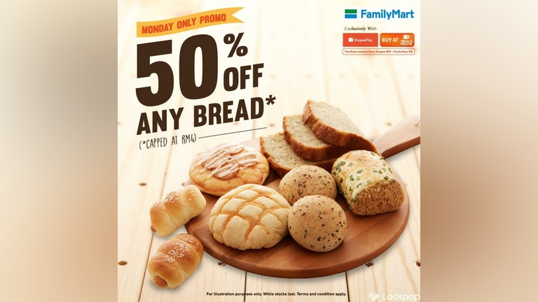 50% Off FamilyMart Breads with ShopeePay