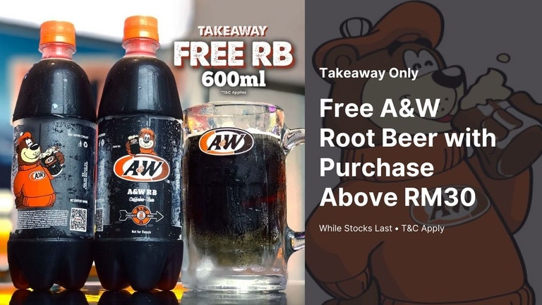 Free A&W 600ml Root Beer for Takeaways Above RM30