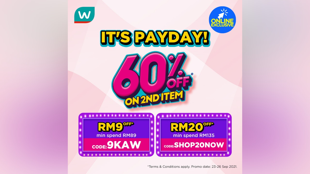 60% Off on 2nd Item at Watsons Online Payday Sale
