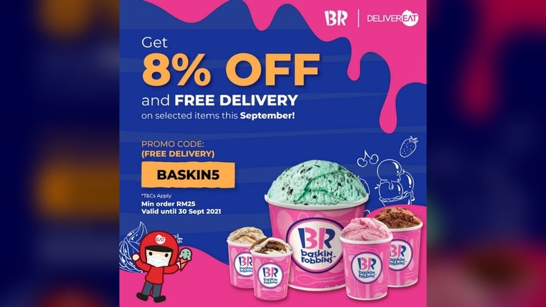8% OFF on Selected Baskin-Robbins Products and Free Delivery from DeliverEat