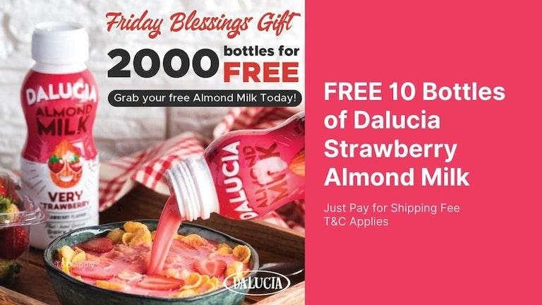 Free Strawberry Almond Milk from Dalucia