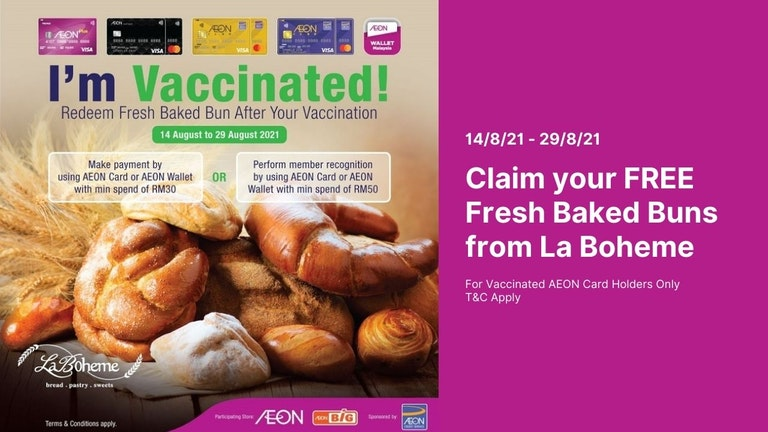 Free Fresh Baked Buns for AEON's Vaccinated Customers