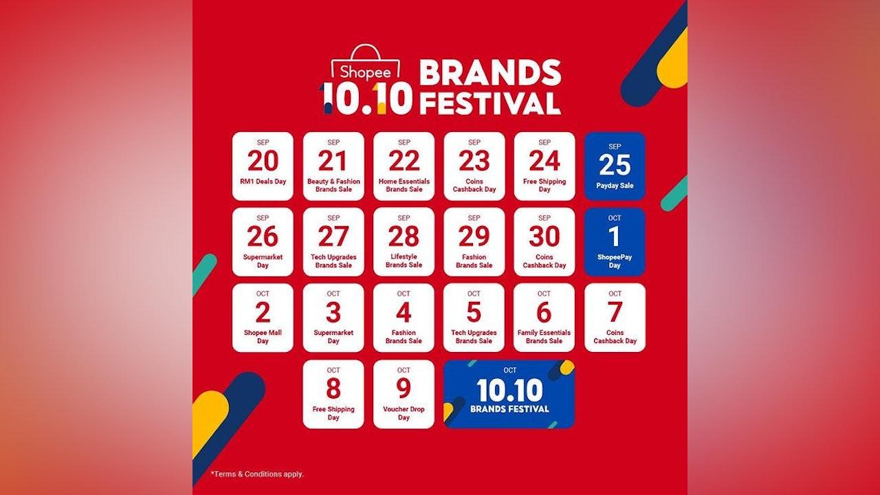 Shopee 10.10 Brands Festival Event Calendar