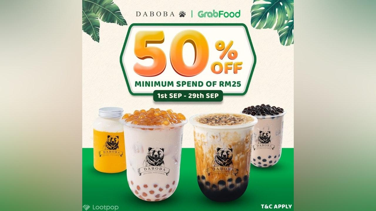 50% Off Daboba when Ordering via GrabFood