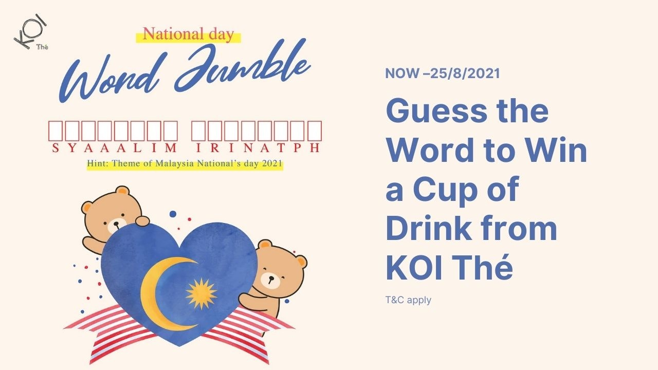 Win a Cup of KOI Thé from National Day Word Jumble Contest