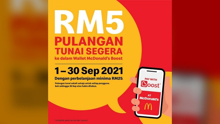 RM5 Instant Cashback in Boost McDonald's Wallet