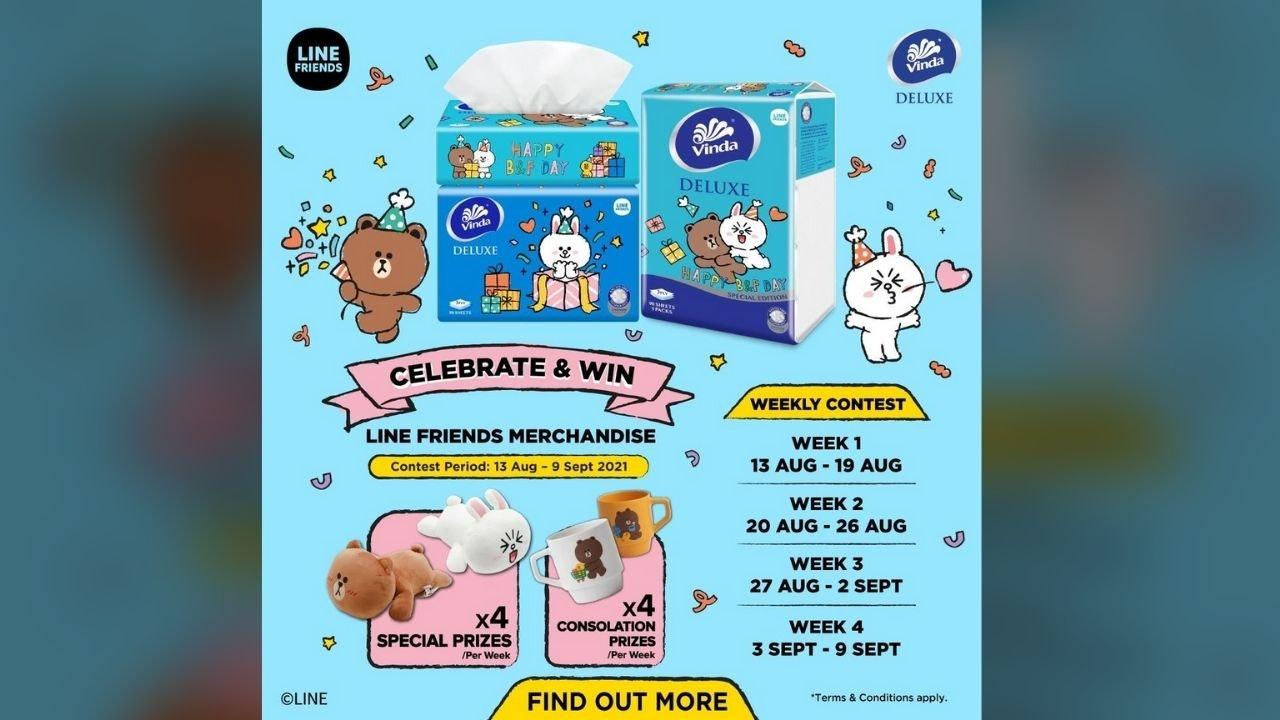 Celebrate & Win LINE FRIENDS Merchandise from Vinda Tissue Malaysia