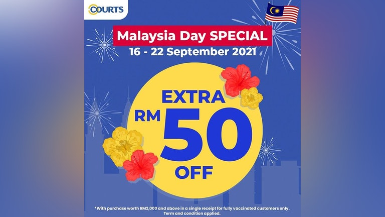 Extra RM50 Off at COURTS on Malaysia Day 2021