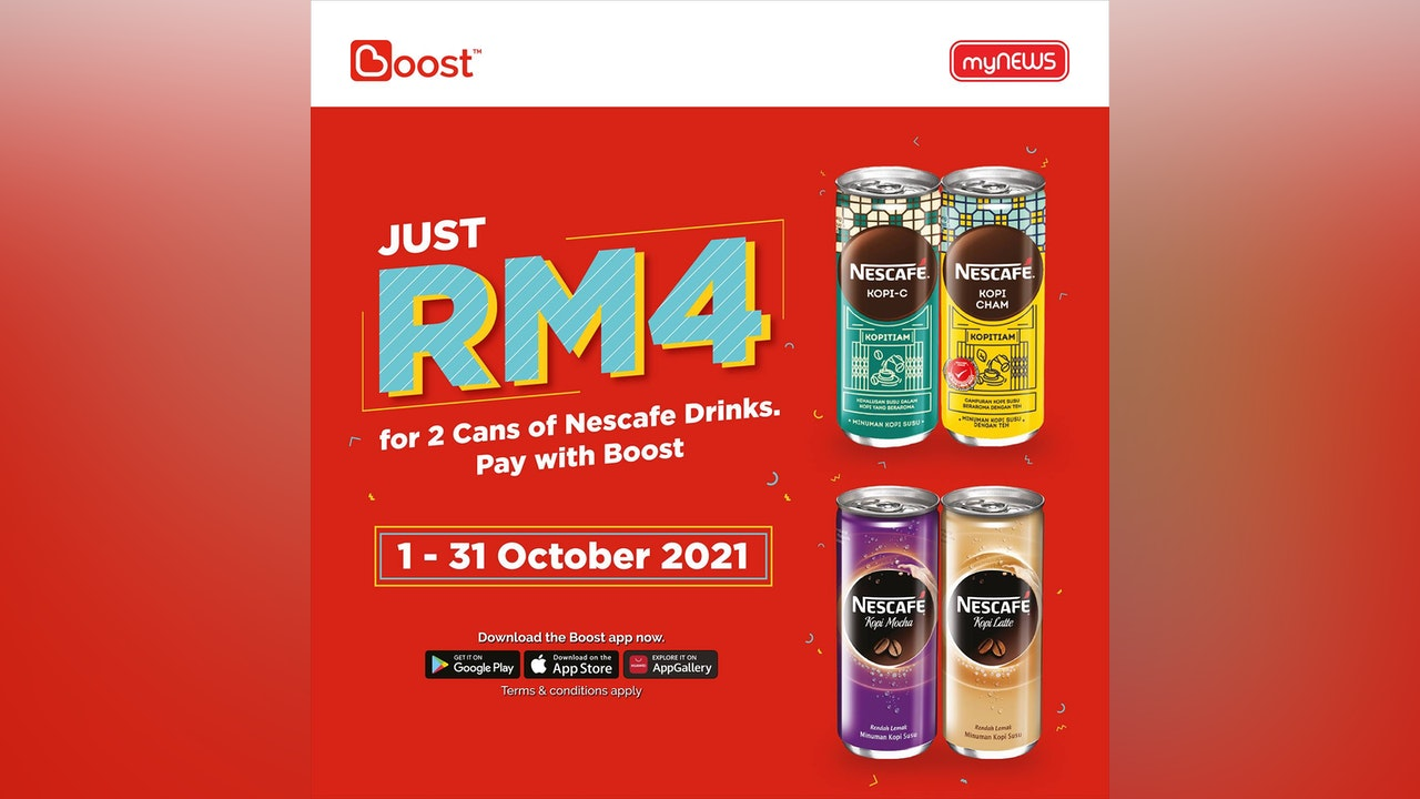 Pay RM4 with Boost for 2 Cans of Nescafe Drinks at myNEWS