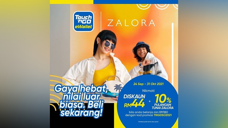 Get RM44 discount & ZALORA Cashback with Touch 'n Go