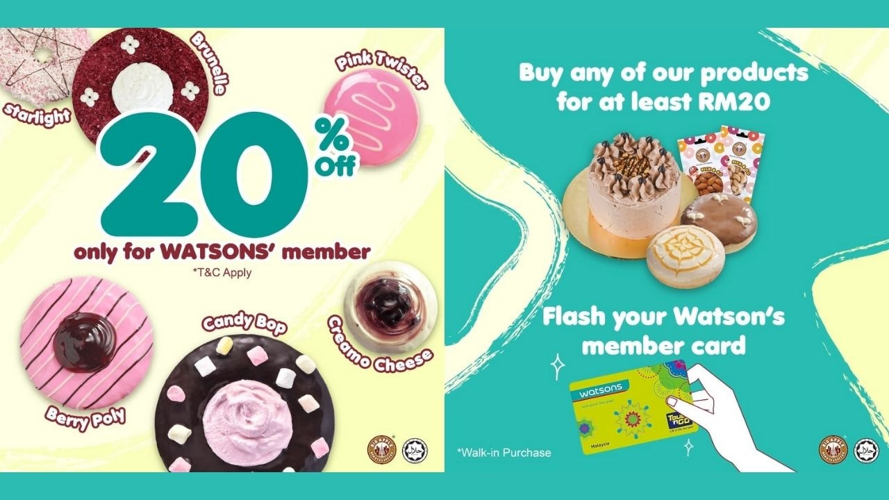 20% Off Big Apple Donuts & Coffee with Watsons Member Card