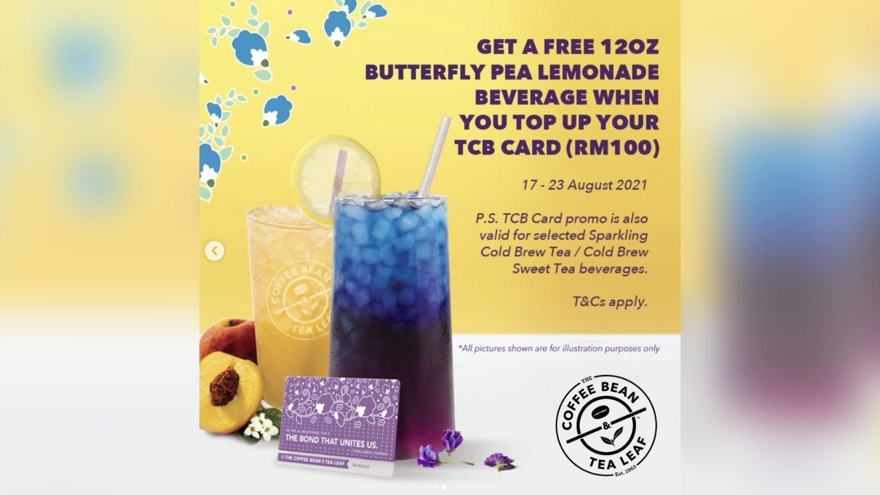FREE Butterfly Pea Lemonade from The Coffee Bean & Tea Leaf Malaysia