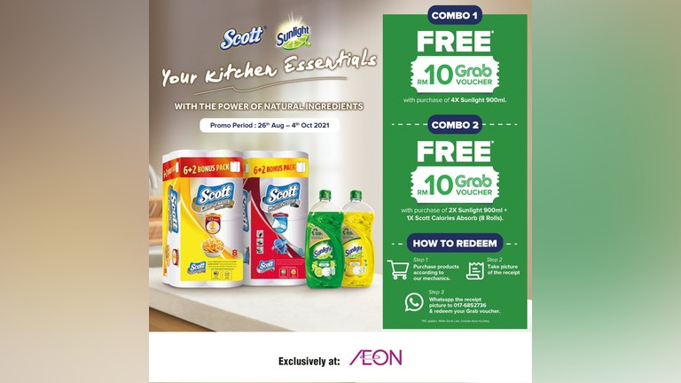 Redeem Grab Voucher from AEON with Scott & Sunlight Products