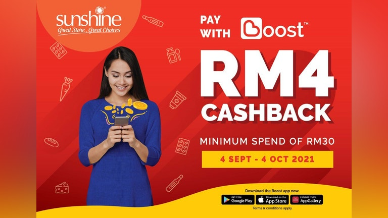 RM4 Cashback from Sunshine Retail x Boost