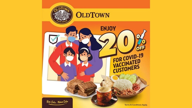 20% Off for Vaccinated OLDTOWN White Coffee Customers
