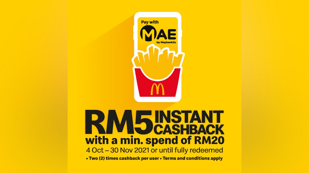 RM5 Instant Cashback via MAE at McDonald's