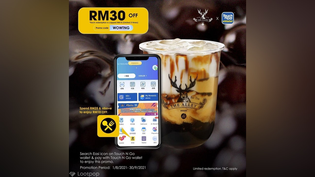 The Alley 鹿角巷 RM30 Discount via EASI 百家外卖 & Touch 'n Go eWallet