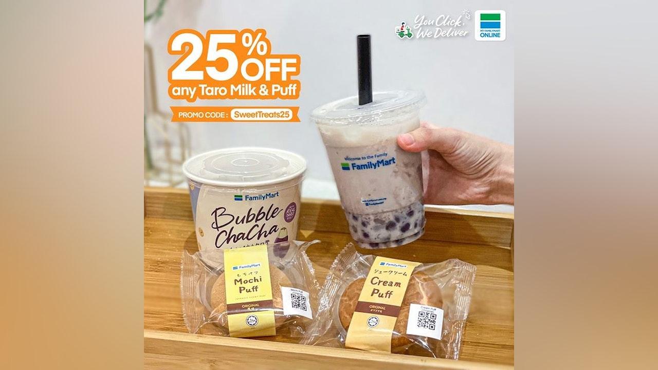 25% Off on FamilyMart's Any Taro Milk & Puff