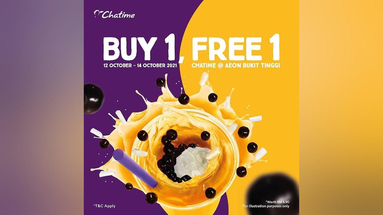 Buy 1 Free 1 at Chatime @ AEON Bukit Tinggi