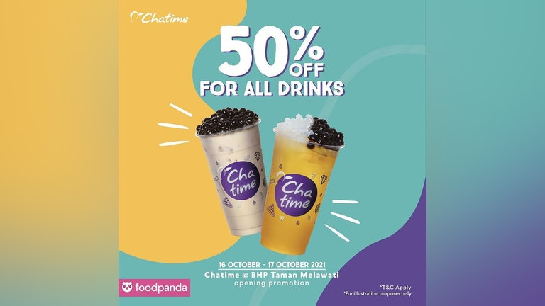 50% off ALL Beverages at BHP Taman Melawati Chatime Outlet
