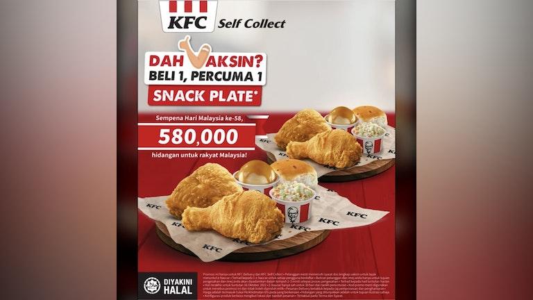 "KFC ""Buy 1 Free 1 Snack Plate"" Vaccination Promo"