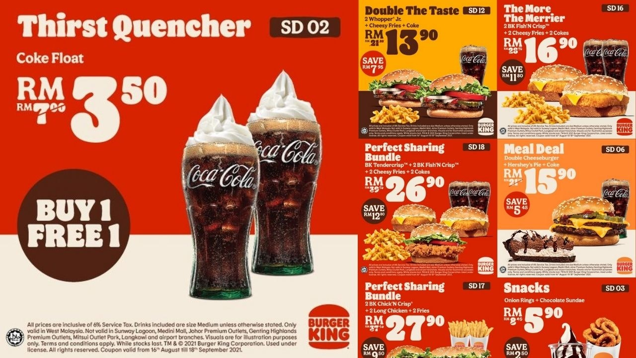 New August and September 2021 Burger King Malaysia Coupons