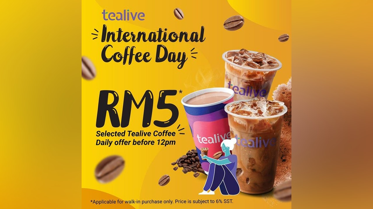 RM5 Tealive International Coffee Day Offer