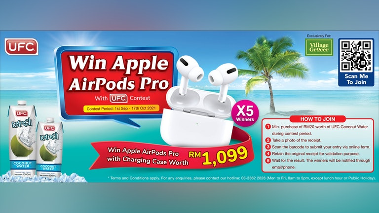 Win Apple Airpod With UFC Coconut Water at Village Grocer